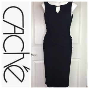 Cache Black Sleeveless Dress Ruched Back